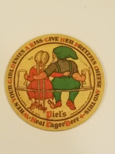Rare 1934 Piels Elf with Girl Beer Coaster, Great Graphics, Made in Austria