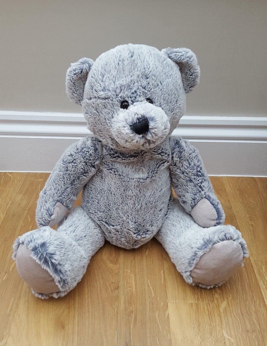 Morrisons Animal Adventure Large Grey Teddy Bear Soft Toy Plush Hug Comforter