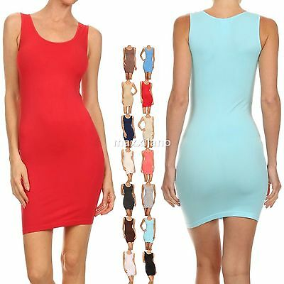 Womens  Casual Long Stretchy Tank Top Mini Dress Layering Camisole Size S,M,L