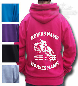 HORSE-RIDING-HOODIE-PERSONALISED-HOODIE-Children-s-amp-Adult-s-SHOW-JUMPING
