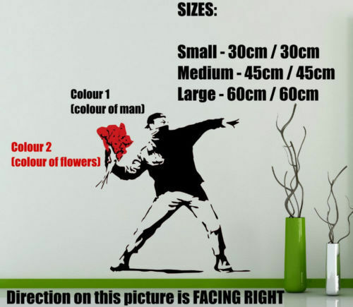 High Quality 30cm x 30cm UK Banksy Style Flower Thrower Art Wall Stickers Decal