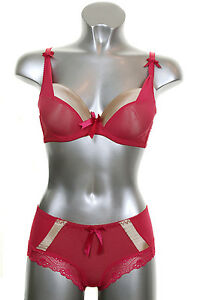 0f73452513 Details about NEW (6335-3) Satin Edge Underwired Ribbon Bra and Knicker Set  Hot Pink Red B Cup