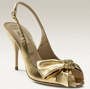 16a6ffbd881 Gold Rhinestone Satin Bow Tie Platform High Heels. Valentino Mena Bow Open  Toe Slingback Sandals Heels Shoes Metallic .