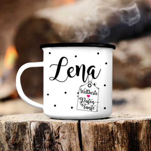 Campingbecher Weltbeste Patentante mit WUNSCHNAMEN CB302 Outdoor Emaille Kaffee
