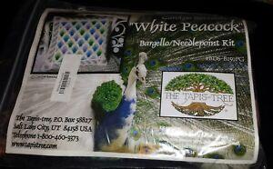 """Carolyn Barrani White Peacock Bargello Needlepoint Kit Tapis Tree NIP! 14"""" x 14"""""""