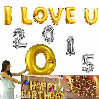 "Gold/Silver 16""/40""Foil Letter Number Balloons Birthday Wedding Party Decoration"