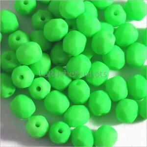 Lot-de-50-Perles-Facettes-en-Verre-de-Boheme-4mm-Vert-Fluo