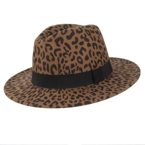 LARGA tesa di Leopardo Caldo Lana Fedora Cappelli Inverno Panama JAZZ coprire le donne