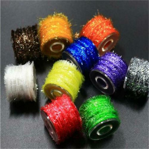 10Colors Tinsel Chenille Crystal Line Fly Tying Estaz Ice UV Sparkle Flash From