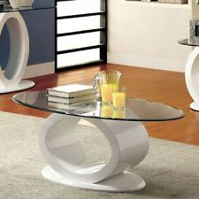 Contemporary Lodia Black White Glass Top High Gloss Lacquer O Shape Coffee Table