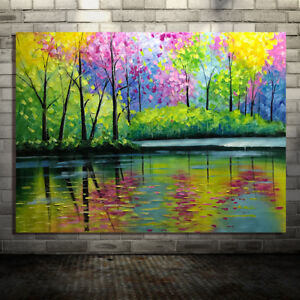 Details about Large Hand Paintings For Bedroom Decor On The Wall Colorfull  Tree Oil Paintings