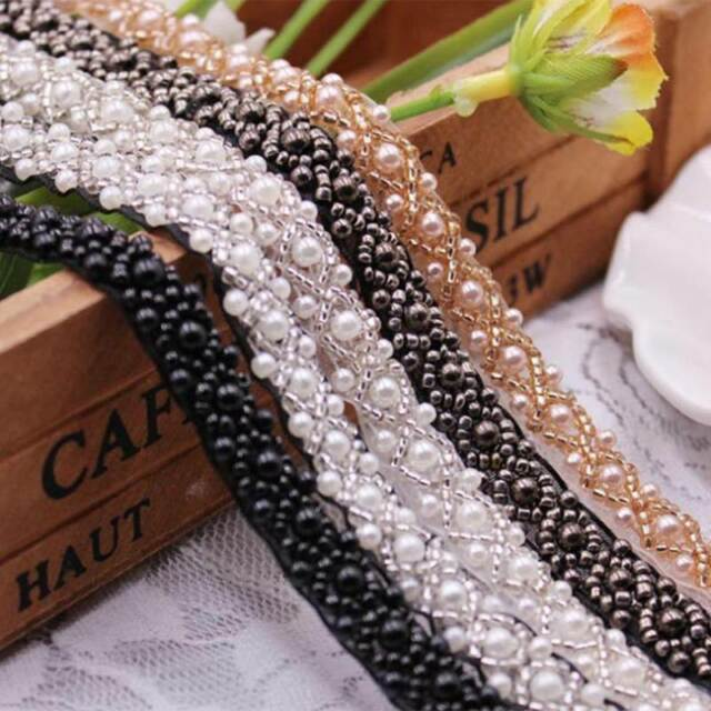 2 Yards  Craft Pearl Beaded Braided Trimming Venise Embroidered Lace Ribbon Trim