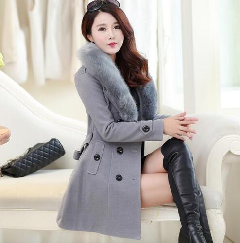 pour mélangé Slim Manteau laine col fourrure Jacket Outwear Manteau Casual femmes en qnfqtxWXp1
