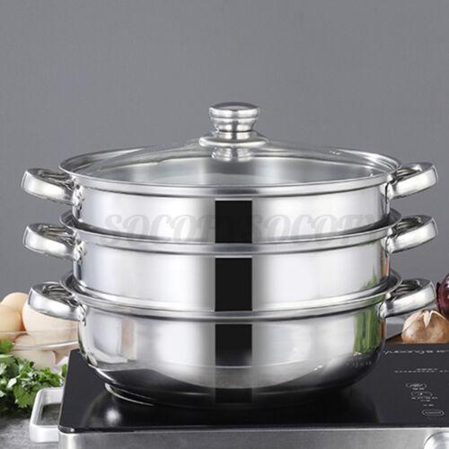 3Tier Stainless Steel Steamer Induction Steam Steaming Pot Kitcken Cookware