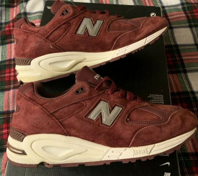 New Balance 990 CIT2 10 Made In USA Burgundy Maroon Suede Concepts