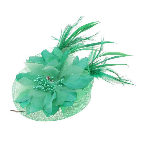 Feder Fascinator Haarreif Blume Schleier Hut Ansteckblume Hochzeit