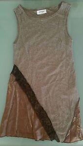 Abito-donna-Maggi-smanicato-lurex-argento-marrone-e-bronzo-al-ginocchio-NUOVO