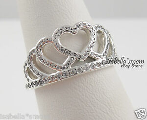 3e0e4d307 Image is loading HEARTS-TIARA-Genuine-PANDORA-Silver-Clear-Zirconia-CROWN-