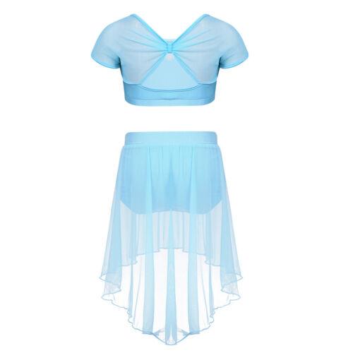 Kids Girls Ballet Dance Gymnastics Dress Suit Floral Lace Asymmetric Mesh Skirt