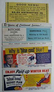 3 Unused & 1 Used Blotter Coal Co. Loan Assoc. & Beer Distributing Co. 1944
