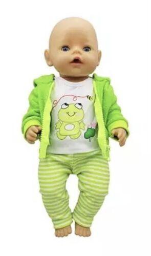 Puppenkleidung 43 cm Jogging Anzug Frosch NEU grün