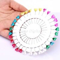 Heart Pearl Head Pins Wheel Colorful Wedding Corsage Dressmaking Sewing Craft