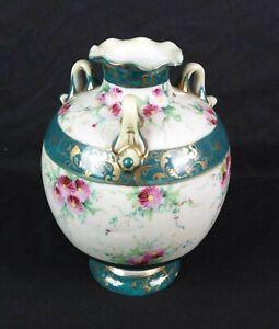 Antique Vintage Hand Painted Porcelain Planter Vase Floral Pattern