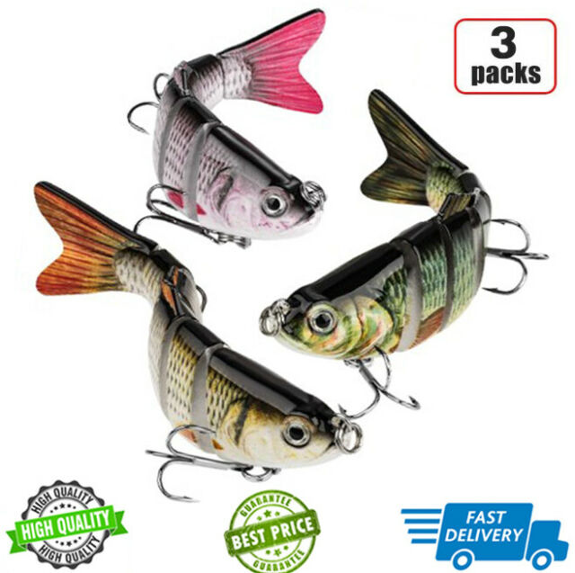 Fishing Lures 8 Segment Fish Bass Minnow Swimbait Tackle Hook Lure Crank Bait US