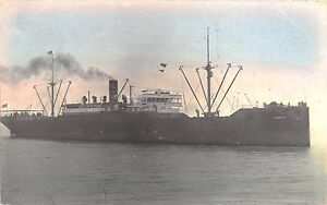 Scantic Cargo Steam Ship Tinted Real Photo RPPC Postcard