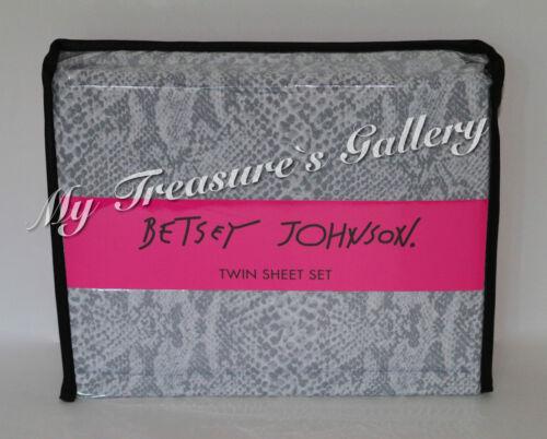 NEW Betsey Johnson Twin Sheet Set Snake Skin Grey NWT
