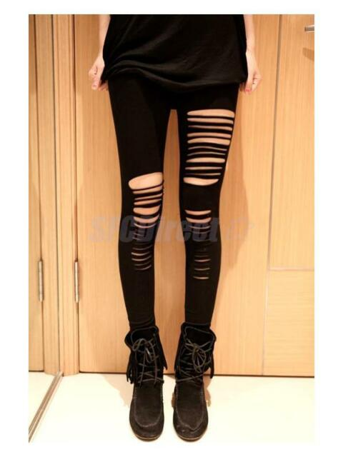 Sexy Black Ripped Torn Slashed Cut Striped Leggings Pants GOTH Club Punk