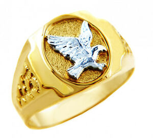 10K 14K The White Eagle Two Tone Mens Gold Rings