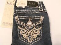 La Idol Jeans Girls Kids Sz 7, 8, Rhinestone Stud White Leather Design Boot Cut