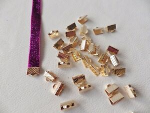 10 x PALE ROSE GOLD Plated Ribbon Cord End Clamps Foldover Clasps 20mm x 6.5mm
