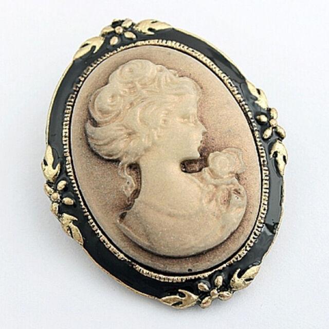 2x Vintage Cameo Elegant Brooch Pin Antique Wedding Retro Portrait Brooch Pin FO