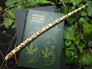 Willow Wood Spiral Wand - For Wisdom - Pagan, Witchcraft, Ogham tree, Wicca