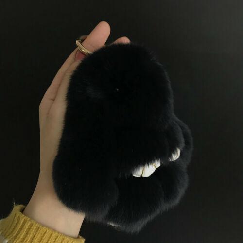 """15 cm 6/"""" rex lapin fourrure véritable lapin multicolore Fourrure Balle Pompon keychain bag charm"""