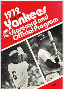1972 NEW YORK YANKEES VS CLEVELAND INDIANS BASEBALL PROGRAM