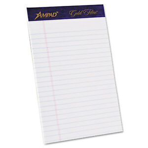 Ampad Gold Fibre Writing Pads Jr. Legal Rule 5 x 8 White 50 Sheets 4/Pack 20018