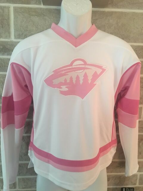 db79f5db7 NHL Minnesota Wild Official REEBOK Fashion Pink White Jersey Girls Youth L