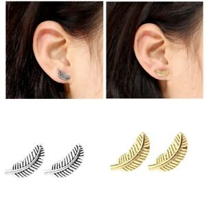 e82f022b6 Image is loading Stainless-Steel-Feather-Barbell-Ear-Cartilage-Helix-Tragus-