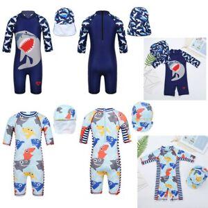 Kids Boys One-piece Shark Swimsuit Swimwear Rash Guard