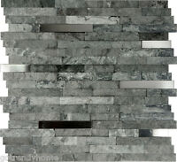 Sample- Gray Natural Stone Stainless Steel Insert Mosaic Tile Kitchen Backsplash