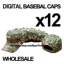 **DIGITAL CAMOUFLAGE** WHOLESALE LOT 12 PLAIN BLANK MILITARY BASEBALL CAPS HATS