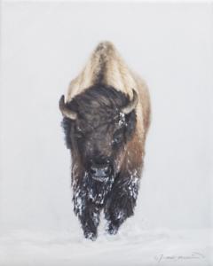 Western-Winter-Bison-Painting-Wildlife-Art-Home-Decor-Original-Oil-Painting