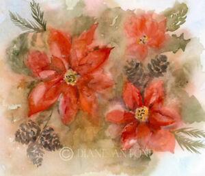 POINSETTIA -   Original painting by Diane Antone