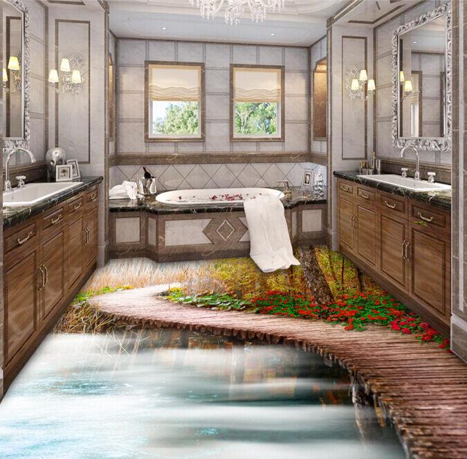3D Ponte Di Legno 489 Pavimento Foto Wallpaper Murales Muro Stampa Decalcomania