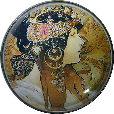Art Nouveau Woman Button Crystal Dome LgSz M28  FREE US SHIPPING
