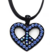 Blue Peace Sign Symbol Heart Charm Pendant Necklace Fashion Jewelry n3012