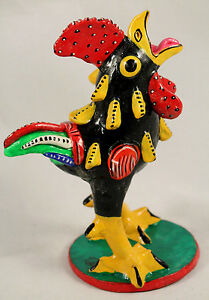 Ceramic Rooster Betus/Nahual Mexico Handmade/Painted Signed Juan J Medrano #17